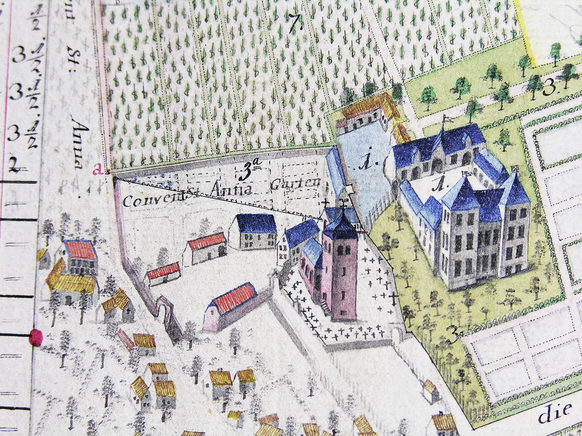 Alfter Castle with the adjacent convent of St Anne of the Augustinian  Sisters on a map of 1793