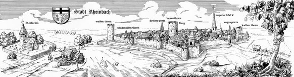 Reconstructed medieval view of the town of Rheinbach, drawing by Franz Josef Feuser