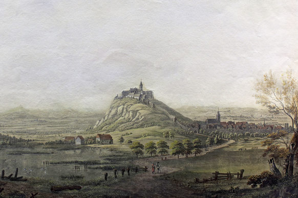 Michaelsberg with the Benedictine Abbey and the town of Siegburg, seen from the north, around 1800, coloured copperplate engraving by Johann Ludwig Bleuler