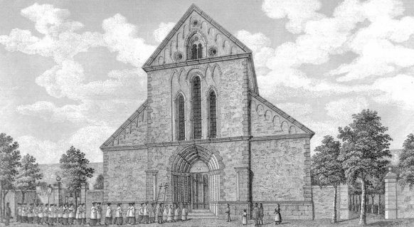 The abbey church of Heisterbach Monastery as Beethoven might still have seen it, steel plate engraving by C. Collart, 1844