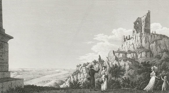 View from Drachenfels platform to Bonn and the Rhine landscape, around 1820