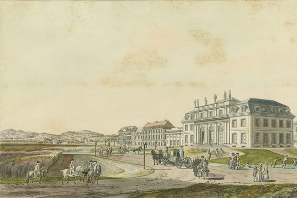 The Redoute ballroom in Godesberg with the Electoral theatre and guest houses, 1792, etching by Johann Ziegler from a water colour by Lorenz Janscha