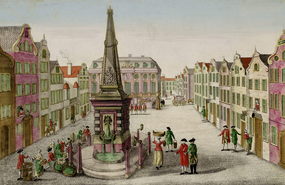 Market place with Zehrgarten Inn (second house from the right) and the Old City Hall (centre), view from the second half of the 18th century