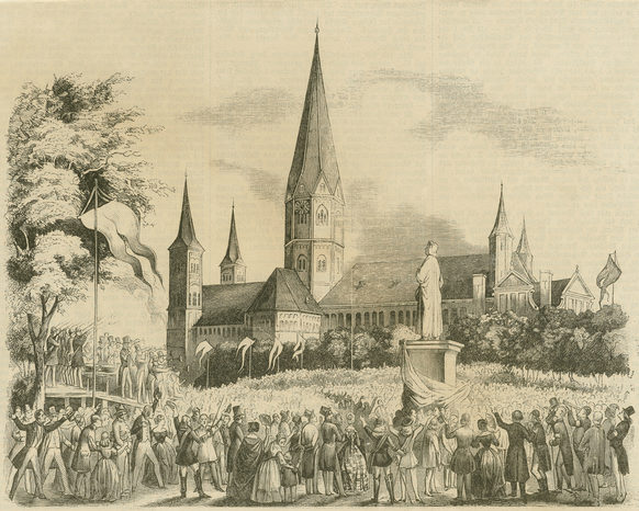 Gathering for the solemn unveiling of the Beethoven Monument on  Münsterplatz on 12 August 1845